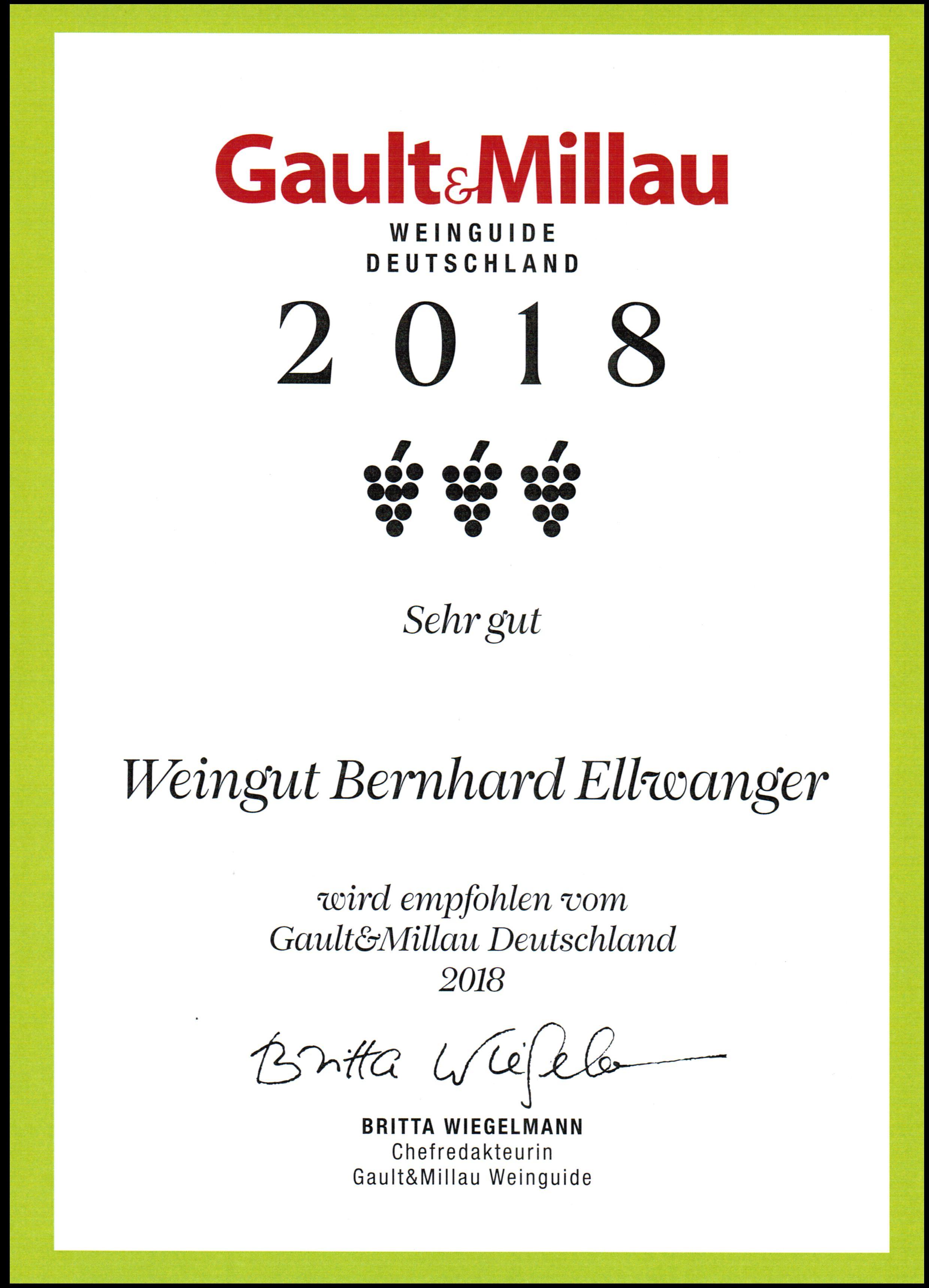Urkunde Gault Millau 2018