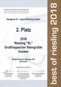Urkunde 2. Platz Riesling SL trocken